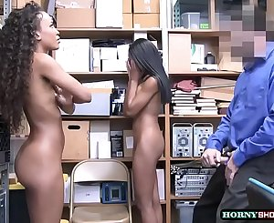 Officer destroys two shoplifter ebonys pussy