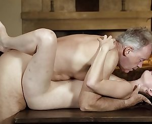 Old english teacher has sex with his sexy young student and gets deepthroat blowjob